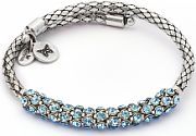 Ladies Chrysalis Silver Plated Bohemia Energy Aquamarine Crystal Wrap Bangle CRWB0001SP-C
