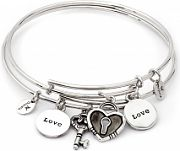Ladies Chrysalis Silver Plated Two Of A Kind Love Expandable Bangle CRBT1901SP