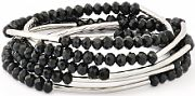 Ladies Chrysalis Silver Plated Ambition, Family and Friendship Obsidian Black Self Belief Elasticated Necklace & Bracelet CRWF0001SP-G