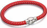 Mens Fred Bennett Silver Plated Red Nylon Bracelet B4736