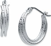Ladies Nine West Silver Plated Hoop Earrings 60459656-G03
