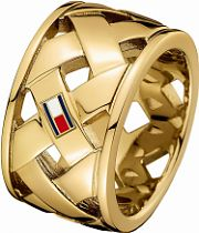 Ladies Tommy Hilfiger Gold Plated Classic Signature Ring Size P 2701024D