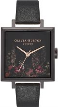 Ladies Olivia Burton After Dark Square Dial IP Black & Rose Floral Watch OB16AD17