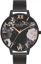 Ladies Olivia Burton After Dark IP Black Mesh Floral Watch OB16AD21