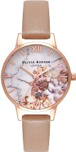 Ladies Olivia Burton Marble Floral Sand & Rose Gold Floral Watch OB16CS02