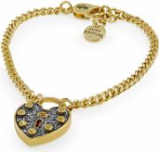 Ladies Juicy Couture PVD Gold plated Pave Heart Padlock Wish Bracelet WJW518-710