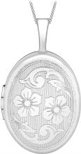 Jewellery Essentials Ladies 9ct White Gold 16mm Flower Locket AJ-14010039